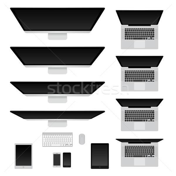 Számítógépek jegyzetfüzetek szett terv laptop technológia Stock fotó © anastasiya_popov
