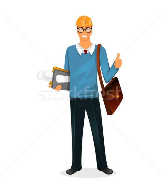 Architekta człowiek charakter obraz działalności biznesmen Zdjęcia stock © anastasiya_popov