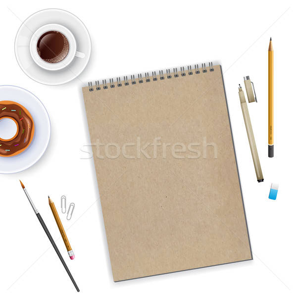 Werkruimte notebook koffie business papier potlood Stockfoto © anastasiya_popov