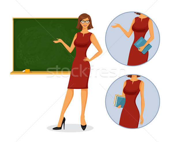 Female teacher with blackboard Stock photo © anastasiya_popov