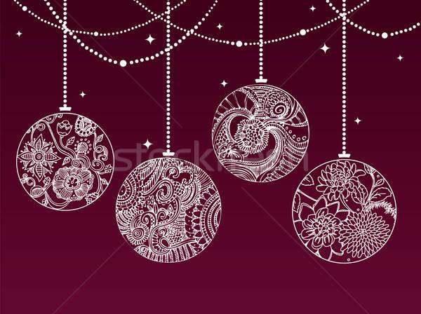 クリスマス 光 デザイン ボール カード ストックフォト © anastasiya_popov