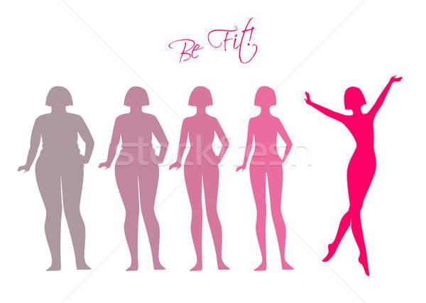 Fitt nő sziluett képek fitnessz egészség Stock fotó © anastasiya_popov