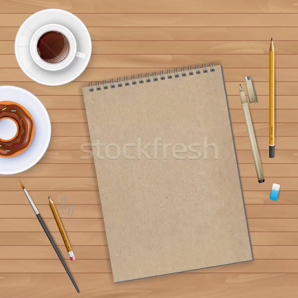 Munkaterület notebook kávé papír ceruza háttér Stock fotó © anastasiya_popov