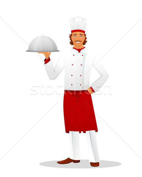 Maschio chef uniforme business computer cucina Foto d'archivio © anastasiya_popov