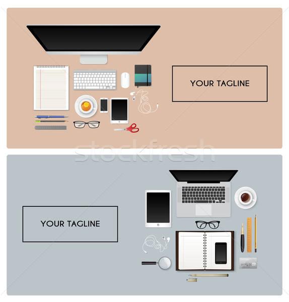 Işyeri izole nesneleri kahve kalem dizüstü bilgisayar arka plan Stok fotoğraf © anastasiya_popov