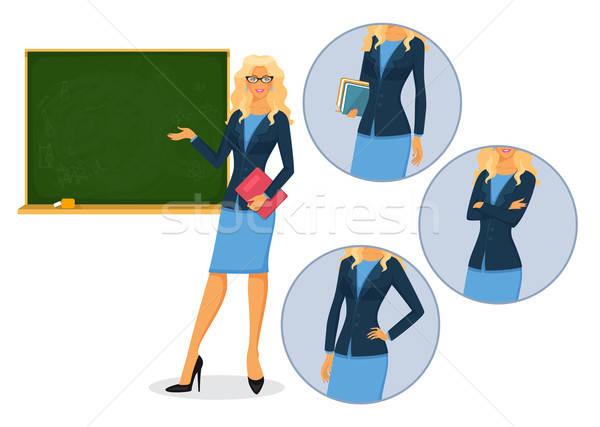 Homme enseignants tableau noir fille éducation verres Photo stock © anastasiya_popov
