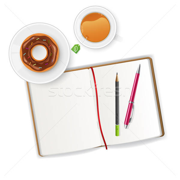 Scena notebooka herbaty pióro edukacji przestrzeni Zdjęcia stock © anastasiya_popov