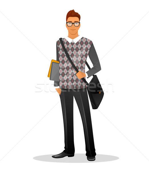 Divat férfi karakter kép könyv arc Stock fotó © anastasiya_popov
