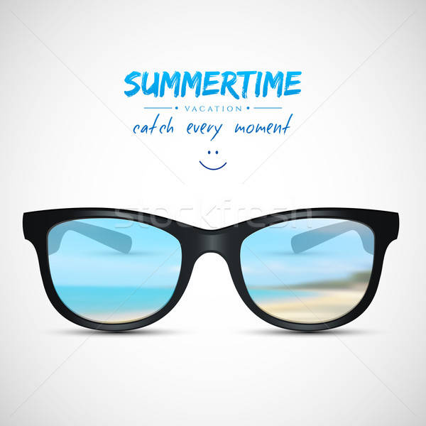 Stock photo: Summer sunglasses with beach reflection