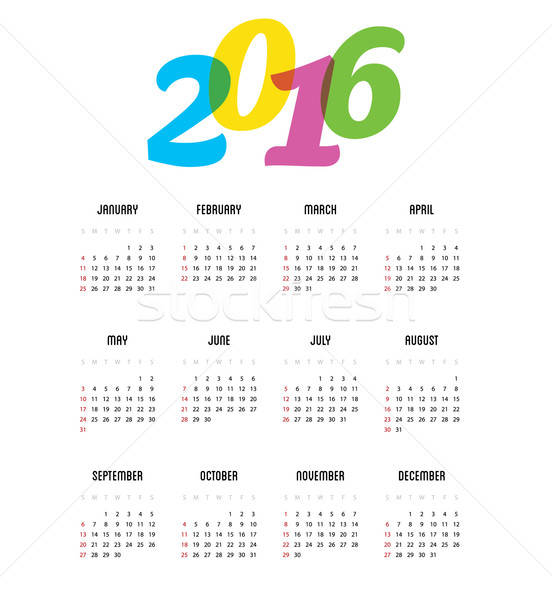 Calendar for 2016 year Stock photo © anastasiya_popov