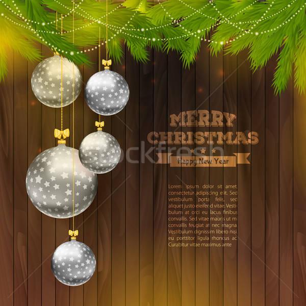 Karácsony golyók fából készült textúra fa erdő Stock fotó © anastasiya_popov