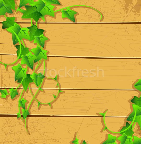 Klimop Maakt een reservekopie hout achtergrond frame teken Stockfoto © anastasiya_popov