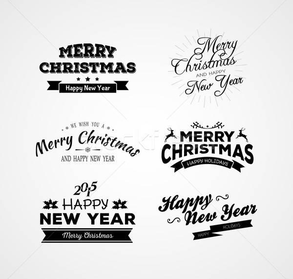 Christmas and New year calligraphy set Stock photo © anastasiya_popov