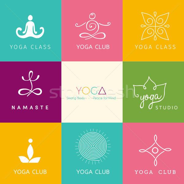 Foto stock: Establecer · logos · yoga · estudio · sol · cuerpo
