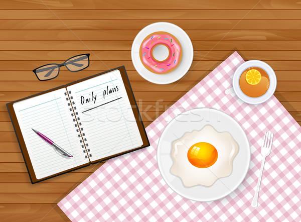 Savoureux déjeuner thé oeuf alimentaire livre Photo stock © anastasiya_popov