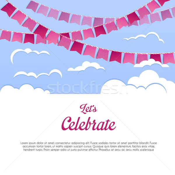 Błękitne niebo kolorowy flagi strony urodziny tle Zdjęcia stock © anastasiya_popov