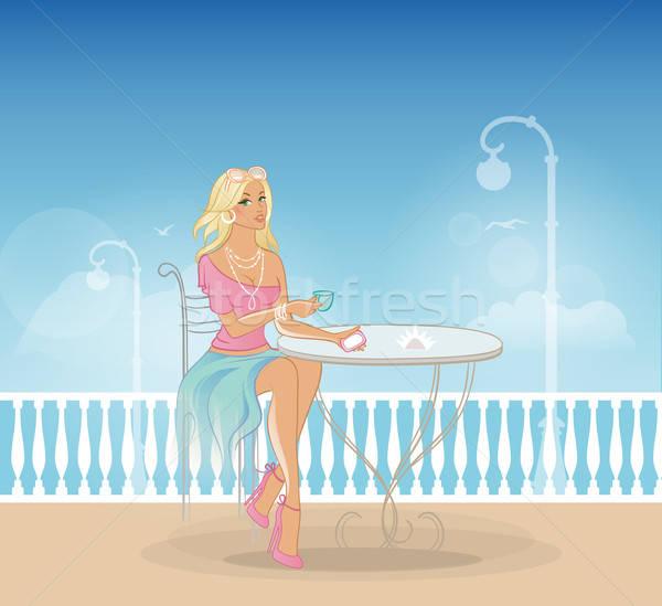 Piękna kobieta Kafejka kobieta niebo kwiat żywności Zdjęcia stock © anastasiya_popov