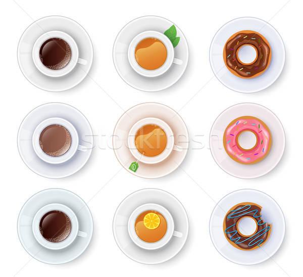 Thé café donuts design gâteau boire Photo stock © anastasiya_popov