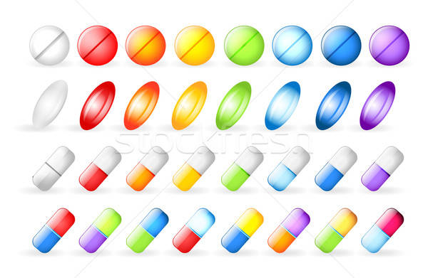 Iconos pastillas salud fondo hospital signo Foto stock © anastasiya_popov