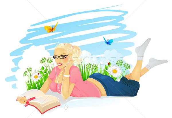 読む 女性 空 春 蝶 幸せ ストックフォト © anastasiya_popov