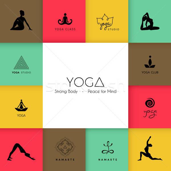 Logos yoga studio soleil corps Photo stock © anastasiya_popov