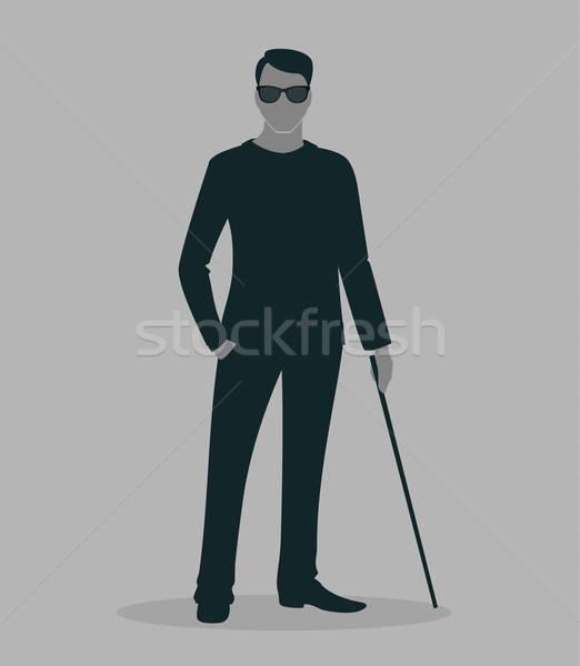ブラインド 男 芸術 ビジネスマン 薬 徒歩 ストックフォト © anastasiya_popov