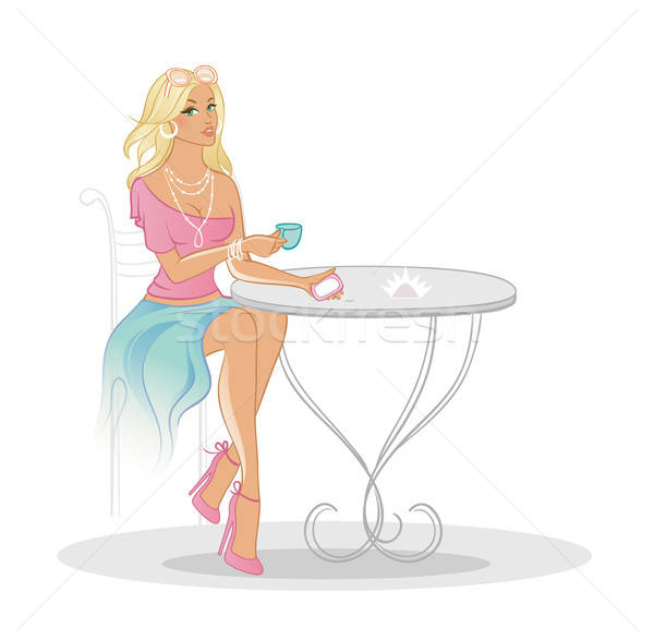 Stock photo: woman in coffee house