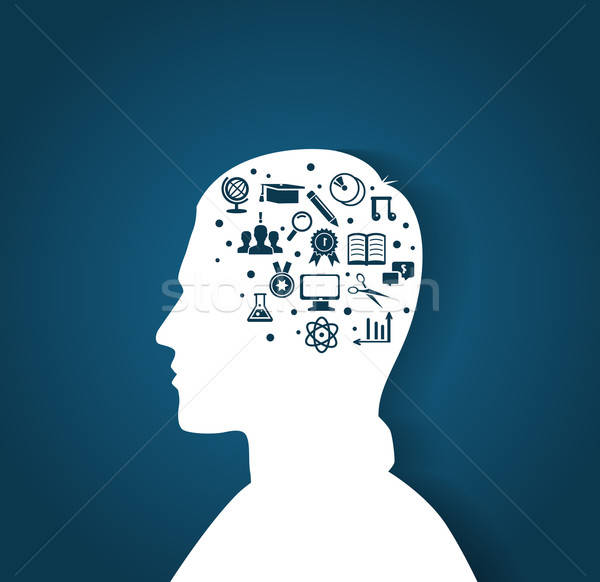 Man's head with education icons Stock photo © anastasiya_popov