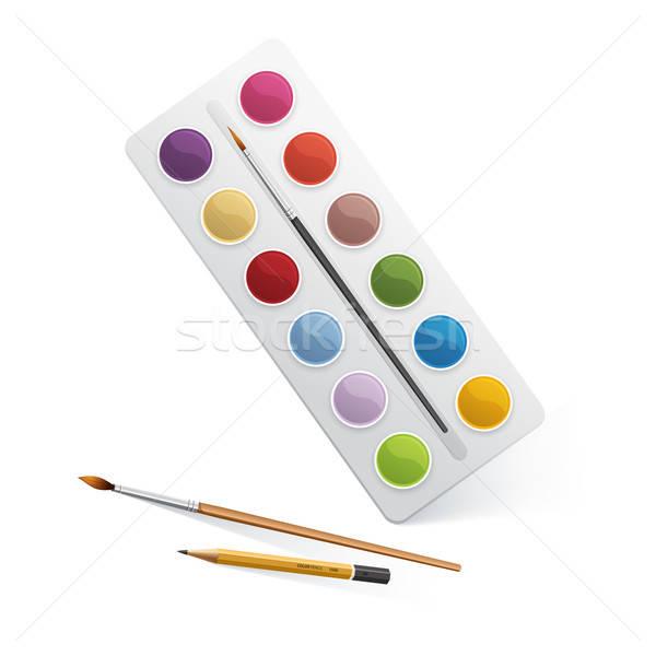 Paletta vízfesték festék absztrakt terv ceruza Stock fotó © anastasiya_popov