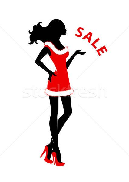 Kerstmis silhouet meisje vrouw muziek sexy Stockfoto © anastasiya_popov
