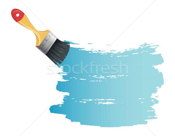 Pędzlem niebieski splash ściany pracy sztuki Zdjęcia stock © anastasiya_popov