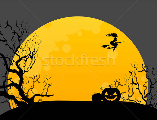 Stock photo: Halloween background with witch