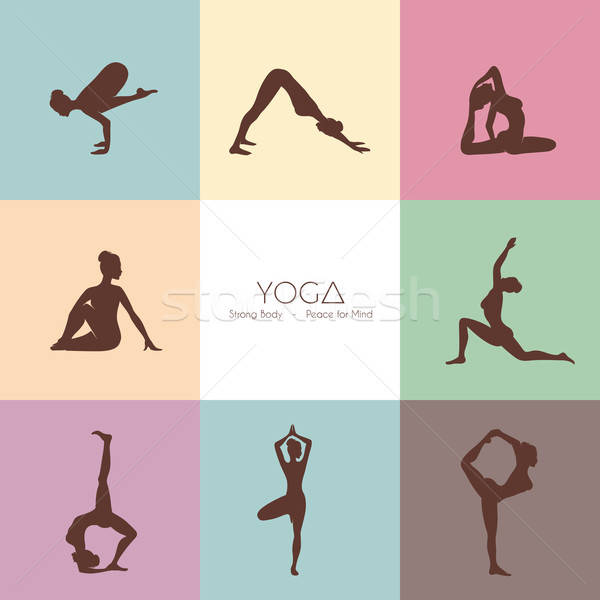 Yoga poses woman's silhouette Stock photo © anastasiya_popov