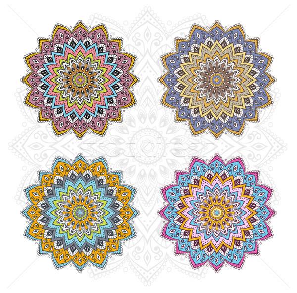 Mandala farklı renk ayarlamak kitap soyut Stok fotoğraf © anastasiya_popov