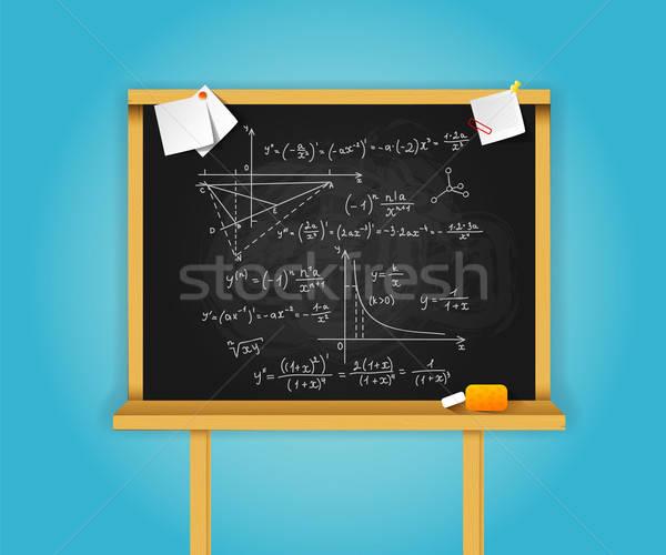 Nero scuola blu legno design scienza Foto d'archivio © anastasiya_popov