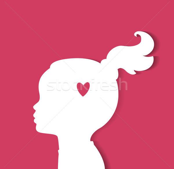 Gyermek fej szív nő gyerekek arc Stock fotó © anastasiya_popov