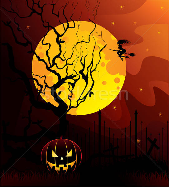 Halloween donkere Maakt een reservekopie boom gelukkig maan Stockfoto © anastasiya_popov