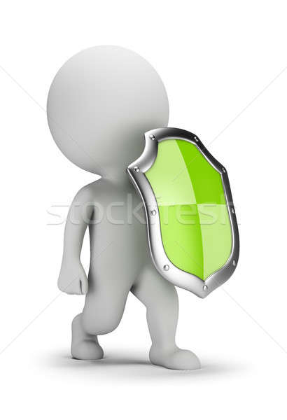 3d small people with a shield Stock photo © AnatolyM