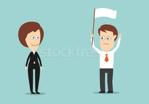 Empresario blanco bandera derrotar las manos en alto conflicto Foto stock © anbuch