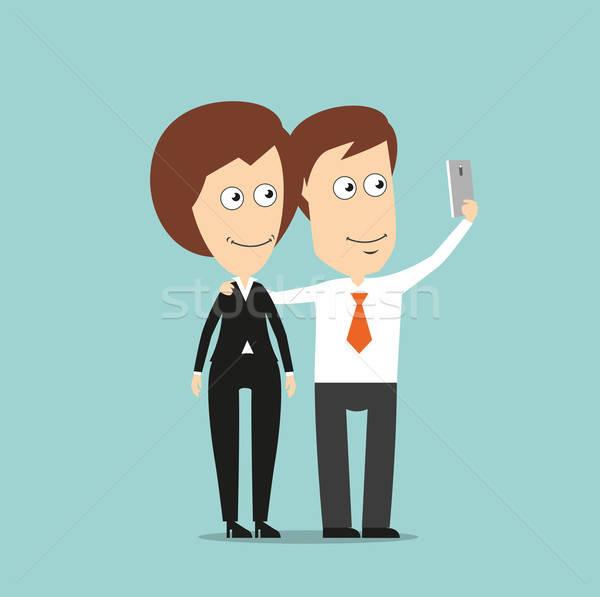 Zakenman zakenvrouw gelukkig portret samen Stockfoto © anbuch