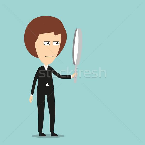 деловой женщины увеличительное стекло поиск Cartoon бизнеса Сток-фото © anbuch