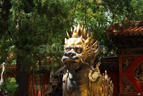 Bronze lion in Forbidden City Stock photo © anbuch