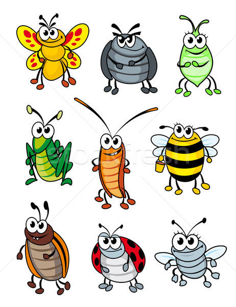 Cartoon insectes doodle sourire résumé Photo stock © anbuch