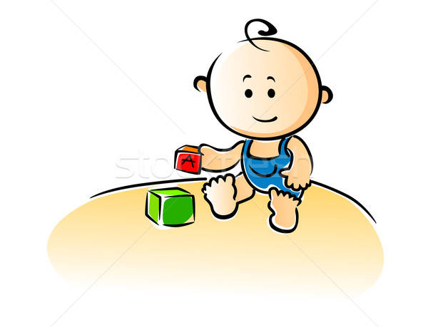 Cute cartoon baby playing with building blocks Stock photo © anbuch