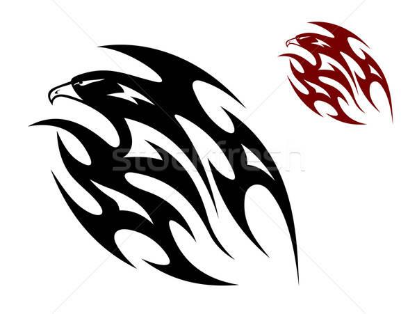 Tribal pássaro tatuagem voador Águia falcão Foto stock © anbuch