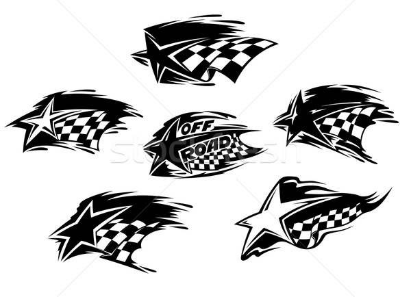 Black and white racing motor sport icons Stock photo © anbuch
