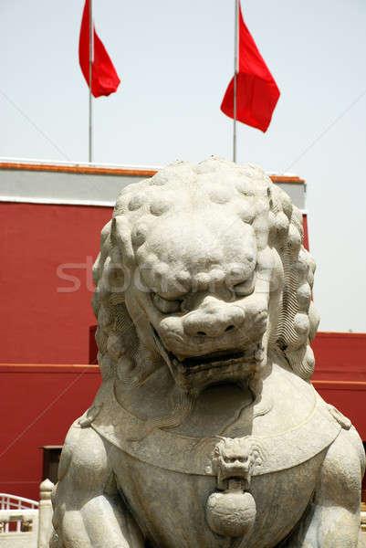 Steen leeuw verboden stad entree muur asian Stockfoto © anbuch