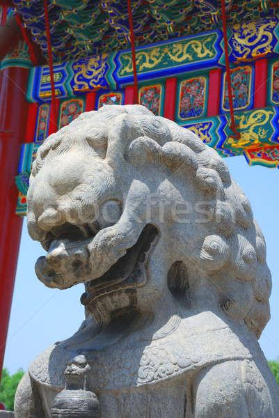 Сток-фото: бронзовый · лев · Запретный · город · саду · вход · император