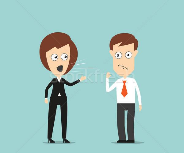 Female boss yelling at employee Stock photo © anbuch