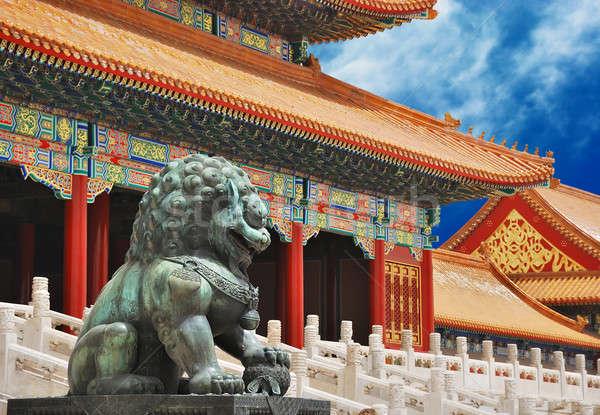 Bronze leão cidade proibida entrada imperador templo Foto stock © anbuch